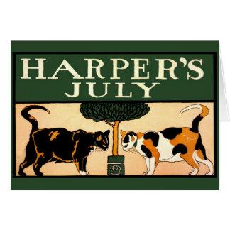 Vintage Edward Penfield, 2 gatos, julio de Harper Tarjeta Pequeña