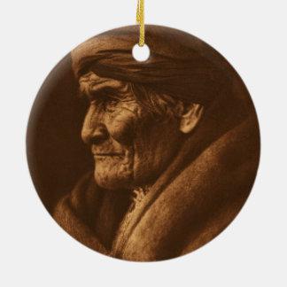 Vintage Edward S Curtis Geronimo Photograph Ceramic Ornament
