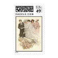 Vintage Edwardian Bride and Groom Postage Stamp