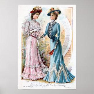 Vintage Edwardian Early Summer Dresses Poster