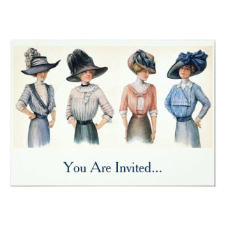 Vintage Edwardian Fashion from 1910 5x7 Paper Invitation Card