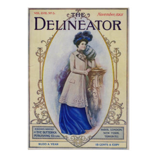 Vintage Edwardian Magazine Cover and Woman in Blu Poster
