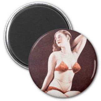 Vintage Edwardian Mutoscope Pin Up Pinup Girl 2 Inch Round Magnet