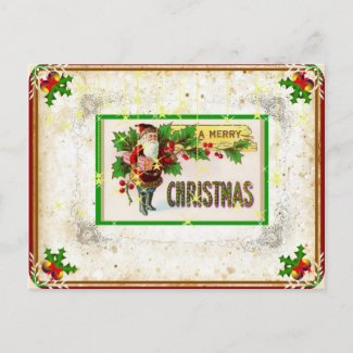 Vintage Edwardian Santa Christmas Postcard