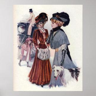 Vintage Edwardian Winter Fashion Poster