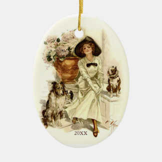 Vintage Edwardian Woman with Dogs and Hydrangeas Ceramic Ornament