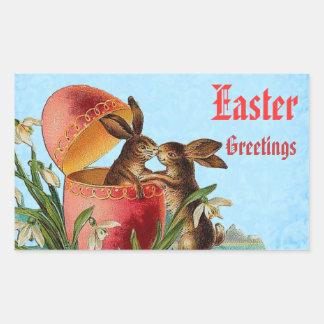 Vintage Egg and Easter Rabbits Kissing V4 Rectangular Sticker