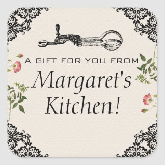 Vintage egg beater bakery baking gift tag label