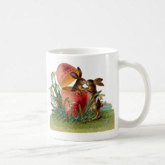 Vintage Egg & Easter Rabbits Kissing Coffee Mug