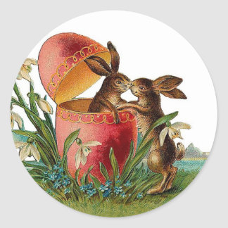 Vintage Egg & Easter Rabbits Kissing Round Stickers