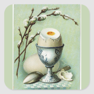 Vintage Egg in a Cup Square Sticker