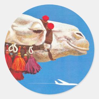 Vintage Egypt Air Travel Advertisement Classic Round Sticker