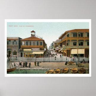Vintage Egypt, port Said Commerce Street Poster