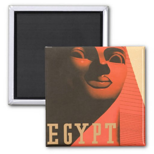 Vintage Egypt Sphinx 2 Inch Square Magnet