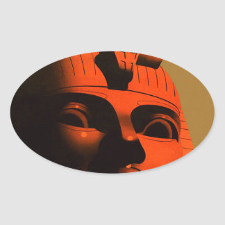 Vintage Egypt Sphinx Travel Poster Oval Sticker