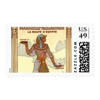 Vintage Egypt Travel Advertisement Stamp