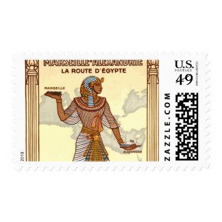 Vintage Egypt Travel Advertisement Stamp