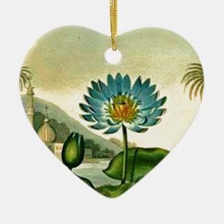 Vintage Egyptian Blue Lotus Flower Green Leaves Ceramic Ornament