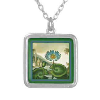 Vintage Egyptian Blue Lotus Flower Green Leaves Silver Plated Necklace