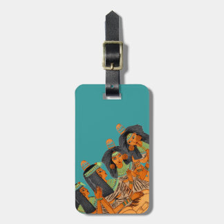 Vintage Egyptian Fashion Women Green Yellow Orange Luggage Tag
