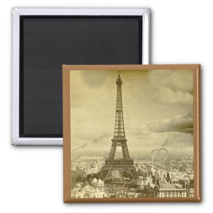 Vintage Eifel Tower Paris France  1889 2 Inch Square Magnet