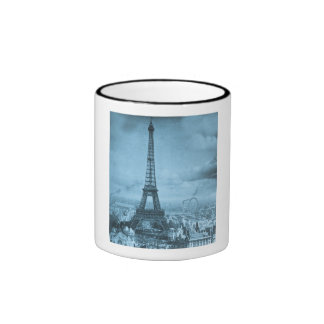 Vintage Eifel Tower Paris France  1889 Ringer Coffee Mug