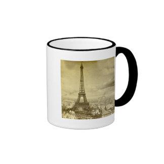 Vintage Eifel Tower Paris France  1889 Ringer Mug