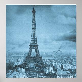 Vintage Eifel Tower Paris France Stereoview 1889 Poster