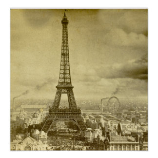 Vintage Eifel Tower Paris France Stereoview 1889 Poster