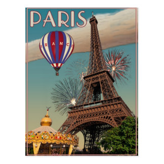 Vintage Eiffel Tower - 18x24 Postcard