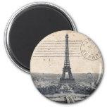 Vintage Eiffel Tower 2 Inch Round Magnet