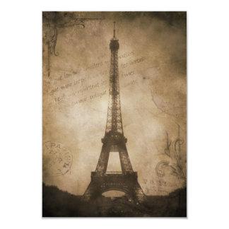 vintage eiffel tower 3.5x5 paper invitation card