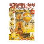 Vintage Eiffel Tower and Balloon Postcard