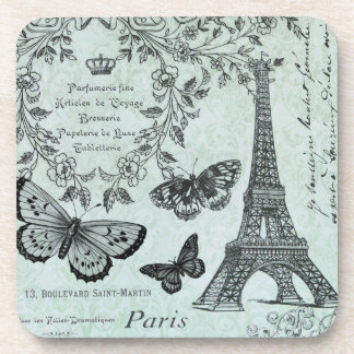 Vintage Eiffel Tower and butterflies coaster