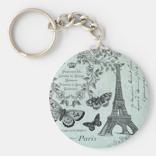 Vintage Eiffel Tower and butterflies keychain