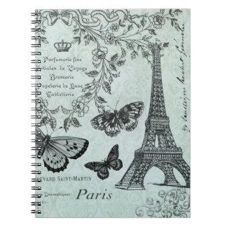 Vintage Eiffel Tower and butterflies notebook