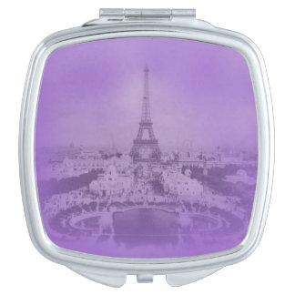 Vintage Eiffel Tower and Paris Purple Exposure Makeup Mirror
