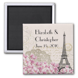 Vintage Eiffel Tower and Pink Flowers Wedding Date Magnet