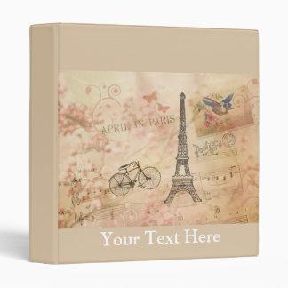 Vintage Eiffel Tower Art 3 Ring Binder