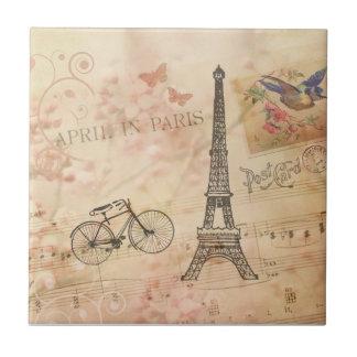 Vintage Eiffel Tower Art Ceramic Tile