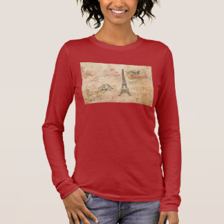 Vintage Eiffel Tower Art Long Sleeve T-Shirt