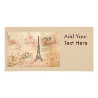 Vintage Eiffel Tower Art Personalized Photo Card