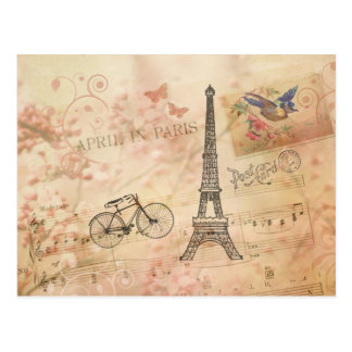 Vintage Eiffel Tower Art Post Card