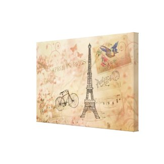 Vintage Eiffel Tower Art Stretched Canvas Print