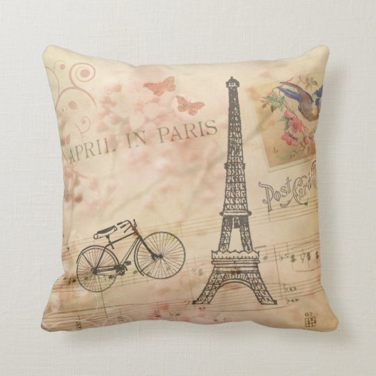 Vintage Eiffel Tower Art Throw Pillow