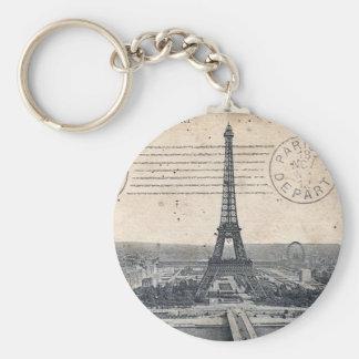 Vintage Eiffel Tower Basic Round Button Keychain