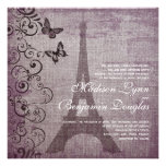 Vintage Eiffel Tower Butterfly Wedding Invitations