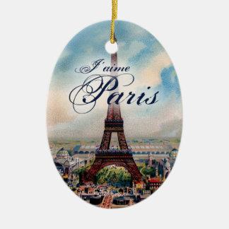 Vintage Eiffel Tower Ceramic Ornament