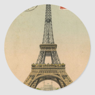 Vintage Eiffel Tower Classic Round Sticker