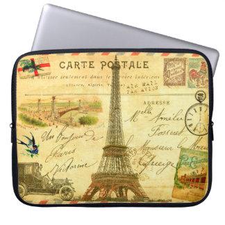 Vintage Eiffel Tower collage stamped postmarked Computer Sleeve